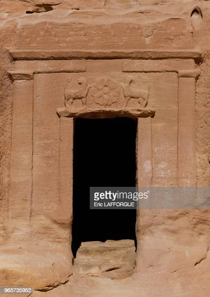 Madain Saleh in Saudi Arabia, a sister city to Jordan???s Petra. UNESCO world heritage site. The Archaeological Site of Al-Hijr was formerly known as...