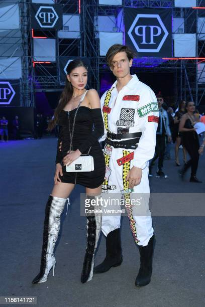 Madalina Doroftei and Alessandro Egger attend the Philipp Plein fashion show during the Milan Men's Fashion Week Spring/Summer 2020 on June 15 2019...