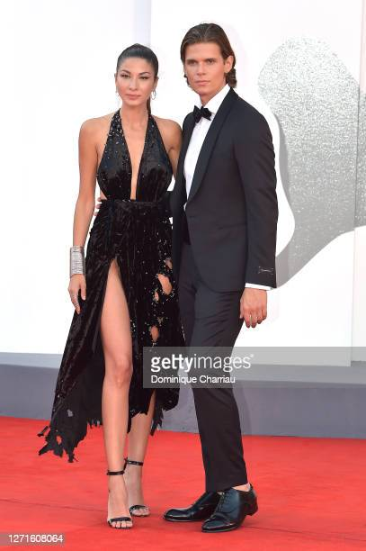 Madalina Doroftei and Alessandro Egger walks the red carpet ahead of the movie Sniegu Juz Nigdy Nie Bedzie at the 77th Venice Film Festival on...