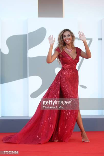 """Madalina Ghenea walks the red carpet ahead of the movie """"Amants"""" at the 77th Venice Film Festival at on September 03, 2020 in Venice, Italy."""