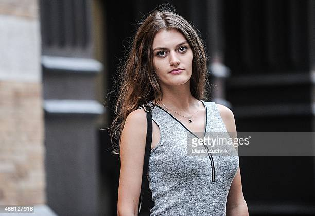 Madalina Panaite is seen in Soho wearing an Oboe dress on August 31 2015 in New York City