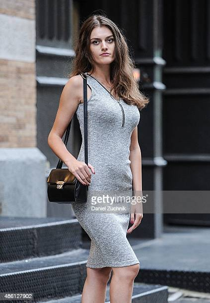 Madalina Panaite is seen in Soho wearing an Oboe dress with a vintage bag on August 31 2015 in New York City