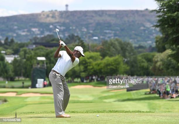 Madalitso Muthiya of Zambia plays his tee shot on the 17th hole during the final round of the South African Open at Randpark Golf Club on December 9,...