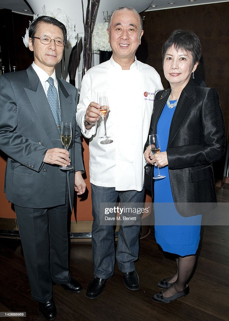 Madam Hyashi, Nobuyuki Mastsuhisa and Ambassador Hayash attend a party to celebrate Nobu London restaurant's 15th anniversary at the Met Bar on March 07, 2012 in London, England.