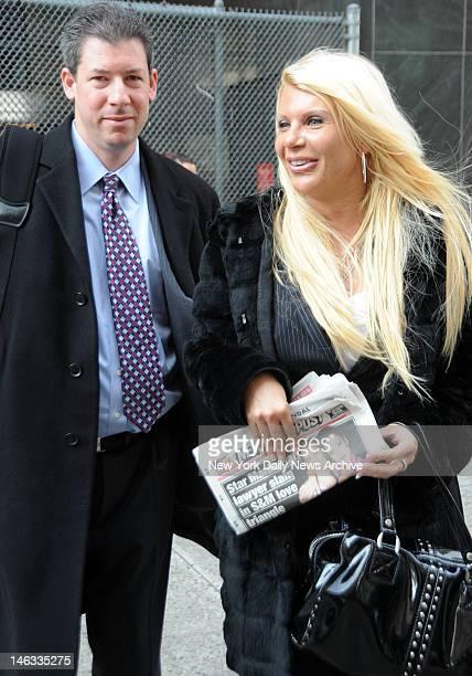 Madam Kristin Davis leaving court with her lawyer Daniel Hochheiser at 11 Center Street Manhattan