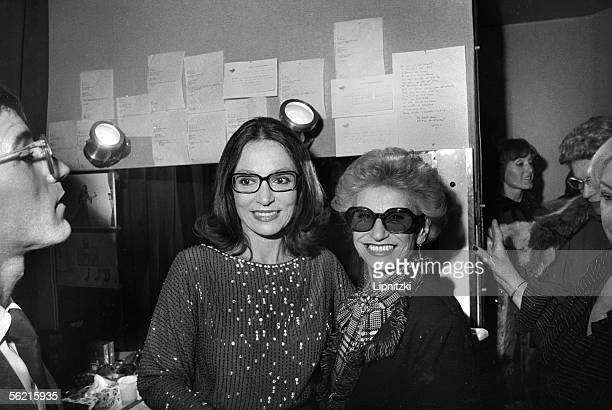 Madam Paulette Coquatrix in the dressing room of Nana Mouskouri Paris Olympia 1982