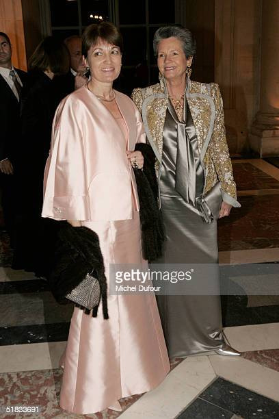 Madam Raffarin with Madam AnneAymone Giscard d'Estaing attend the Child Abuse Foundation Gala at Versailles on December 6 2004 in Versailles France