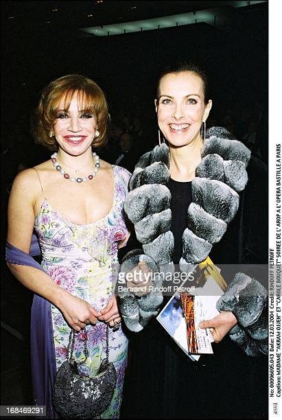 Madame 'Akram Ojjeh' and 'Carole Bouquet' at L'Arop Gala At L'Opera Bastille In Paris