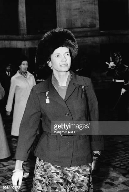 Madame AnneAymone Giscard d'Estaing épouse de Valéry Giscard d'Estaing le 30 janvier 1975 à la réception donnée par Maurice Shuman à l'Académie...