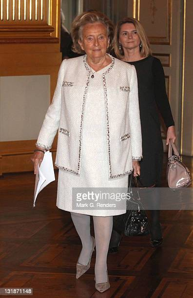Madame Bernadette Chirac arrives for a conference dealing with the issue of 'Vulnerable children on the run' at the Royal Palace on November 17 2010...
