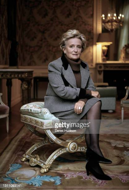 """May 30, 2004: Madame Bernadette Chirac, France""""u2019s First Lady and wife of President Jacques Chirac photographed in her office in the Elysée..."""