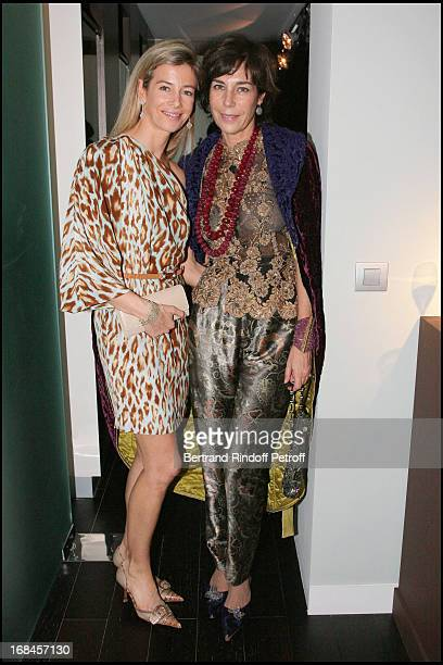 Madame Brice Hortefeux and Chrstine Orban at Gala Opening Evening At The Christian Deydier Art Exhibition In Paris