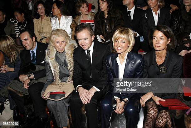 Madame Claude Pompidou, Bernard Arnault, CEO and President of Dior's parent group LVMH, and his wife pianist Helene Mercier Arnault attend the...