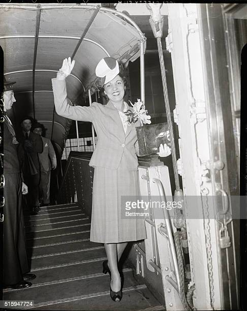 Madame Colette d'Arville, French actress homeward bound on S.S. Rex.