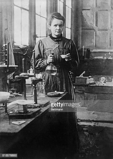 Madame Curie noted physical chemist poses in her Paris laboratory Undated photograph