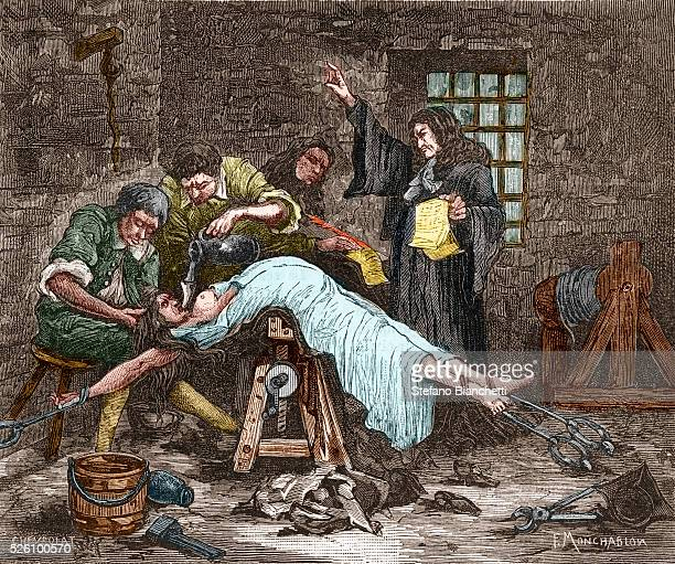 Madame de Brinvilliers being forced to ingest water prior to being beheaded in 1676 She was convicted of poisoning several members of her family in...
