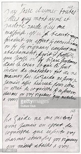 Madame de la Fayette - manuscript of Zaide, with corrections by La Rochefoucauld. 1634-1693. Marie-Madeleine Pioche de la Vergne, comtesse de la...