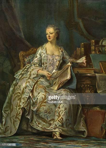 Madame de Pompadour - portrait of King Louis XV 's mistress by Maurice Quentin de Latour . Original held at the Louvre Museum, Paris,...
