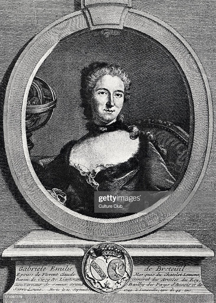 Madame du Châtelet (Gabrielle-Emilie le Tonnelier de Breteuil) - portrait of Voltaire's friend, a scientist with a lab at Cirey, whose ideas he admired and with whom he corresponded at length.  Intellectual development of ideas of Age of Reason in France. : ニュース写真