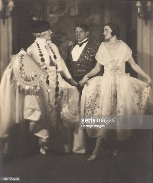 Madame Errazuriz Pablo Picasso and Olga Khokhlova at a ball of Count Etienne de Beaumont Montparnasse 1924 Private Collection Strictly for Editorial...