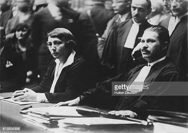 Madame Hanau former owner of the Gazette du Franc with her Counsel Maitre Dominique during a sensational trial in Paris for her part in the collapse...