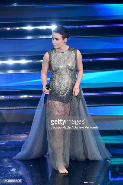 Madame is seen on stage during the 71th Sanremo Music Festival 2021 at Teatro Ariston on March 05, 2021 in Sanremo, Italy.