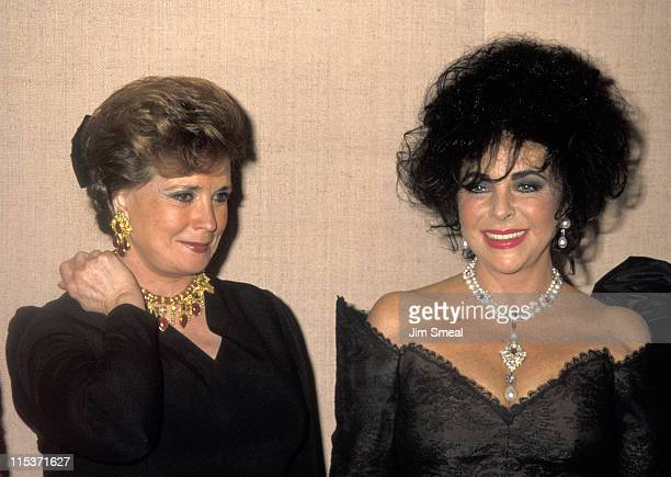 Madame Jehan Sadat and Elizabeth Taylor during 21st Annual Friends of Tel Hashomer Gala at Beverly Hilton Hotel in Beverly Hills, California, United...