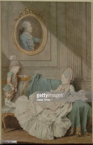 Madame Millin du Perreux and Her Son with a Painted Portrait of Monsieur JeromeRobert Millin du Perreux c 1760 Louis Carmontelle Red chalk black...
