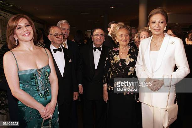 Madame Nahed Ojjeh Robert Parienti Bernadette Chirac wife of French President Jacques Chirac and Empress Farah Diba of Iran pose during Le Concert de...