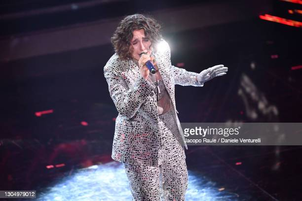 Madame performs at the 71th Sanremo Music Festival 2021 at Teatro Ariston on March 02, 2021 in Sanremo, Italy.