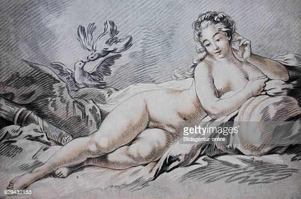 Madame pompadour mistress of louis xv as venus tinted red chalk drawing by francois boucher 17th century historic color lithograph circa 1870
