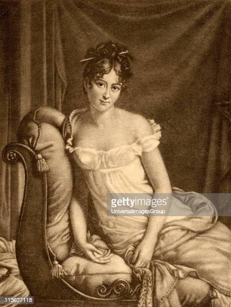 Madame Recamier Jeanne Francoise Julie Adelaide Bernard Mme Recamier aka Juliette Celebrated French beautyMezzotint by GWHRitchie From the book '...