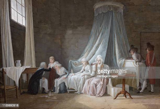 Madame Royale healed by Brunier on January 24th 1793. The royal family at the Temple Prison. Private Collection. Artist Mallet, Jean-Baptiste .