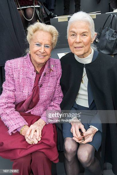Madame Serge Dassault and Micheline Chaban Delmas attend the Chanel Fall/Winter 2013 ReadytoWear show as part of Paris Fashion Week at Grand Palais...