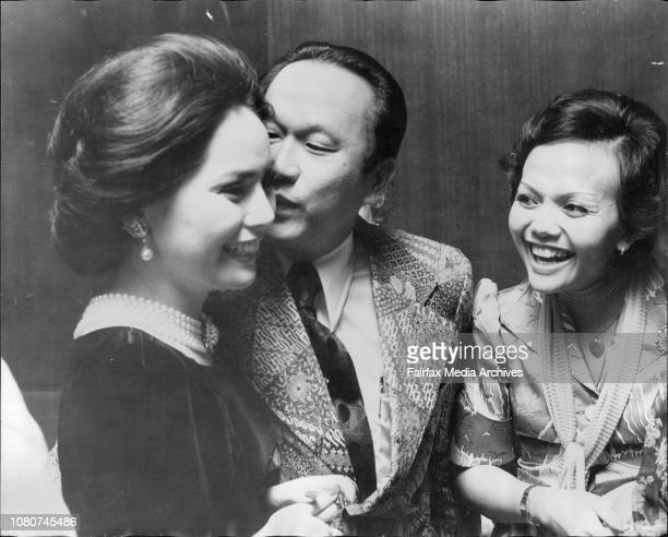 Madame Sukarno gets kiss from Mr Masagung right Mrs RizelSocial pics from reception for Madame Sukarno at Hilton Hotel April 18 1975