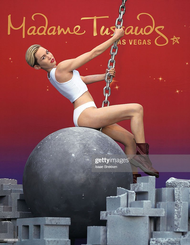 Madame Tussauds' Miley Cyrus Figure Debuts Atop A Wrecking Ball In Las Vegas : News Photo