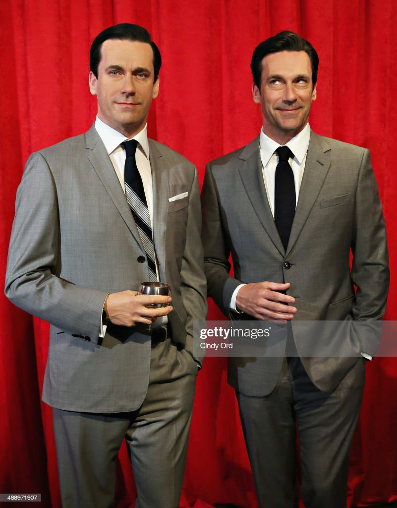 Madame Tussauds New York and actor Jon Hamm (R) unveil Don Draper's wax figure during Mad Men's Final Season at Madame Tussauds New York on May 9, 2014 in New York City.