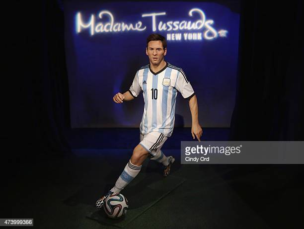 Madame Tussauds New York officially unveils the wax figure of soccer icon and star forward for FC Barcelona Lionel Messi portrayed in his Argentina...