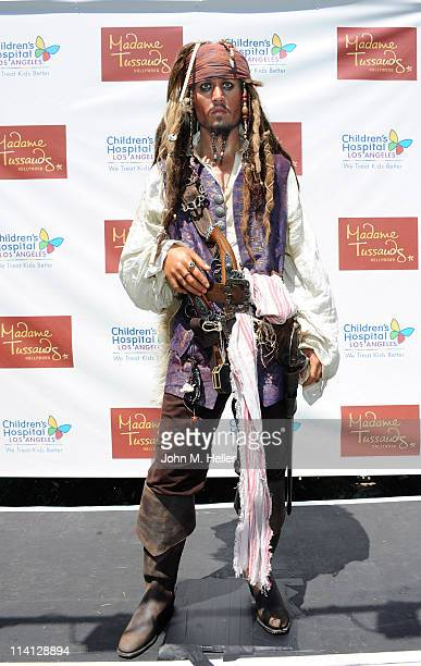 Madame Tussauds of Hollywood unveiled their new wax figure of Johnny Depp aka Jack Sparrow from the movie Pirates of the Caribbean at Childrens...