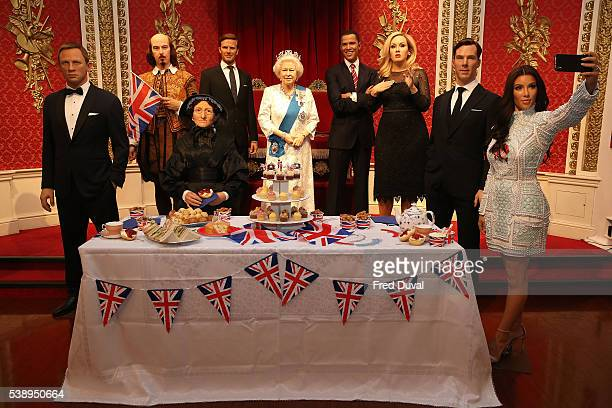 Madame Tussauds throws the Queen a star studded birthday party including Waxwork of Daniel Craig William Shakespeare David Beckham Madame Tussauds...