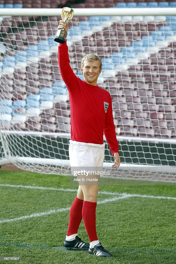 Madame Tussauds unveil a new wax figure of 1966 England Captain, Bobby Moore on May 19, 2014 at West Ham United's Boelyn Ground London, England.