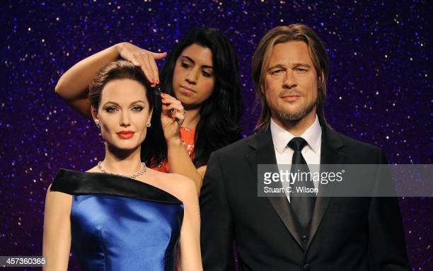 Madame Tussauds unveil new wax figures for Brad Pitt and Angelina Jolie ahead of Brad's 50th birthday on December 18th at Madame Tussauds on December...