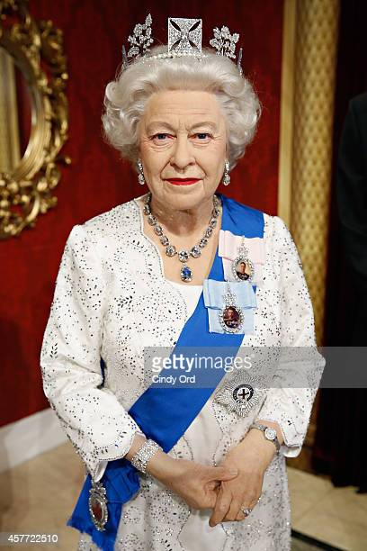 Madame Tussauds wax figure of Queen Elizabeth II makes debut at Madame Tussauds New York on October 23 2014 in New York City