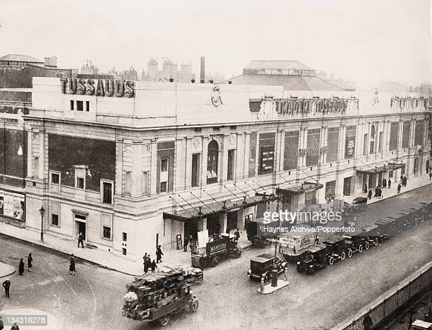 Madame Tussauds Wax Museum on Baker Street in London, with a cinema on the corner, 1927.