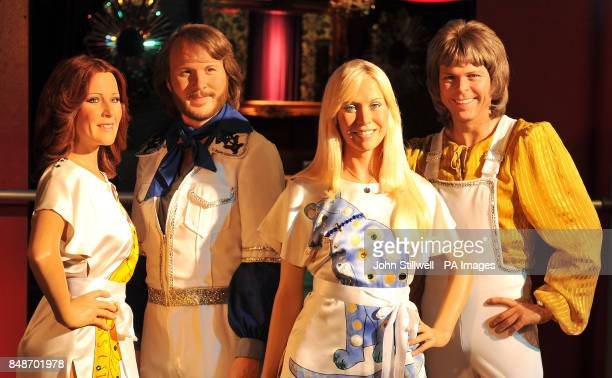 Madame Tussauds waxwork figures of ABBA AnniFird Benny Agnetha and Bjorn the Swedish pop group who shot to fame in the 1970's during a photocall at...