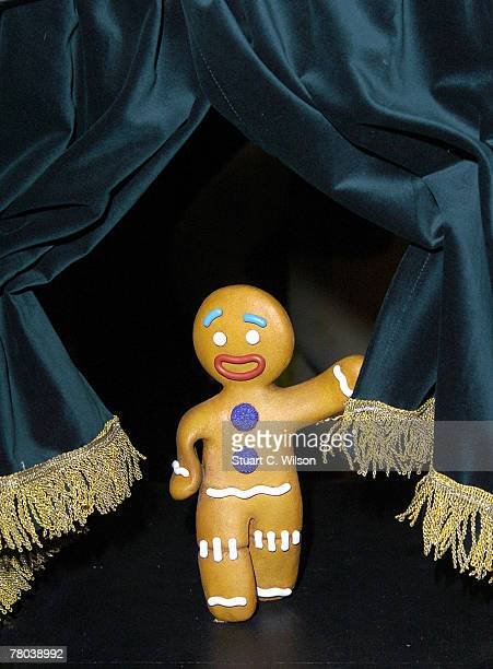 Madame Tussauds waxwork museum unveils one of its smallest waxwork figures the character 'Gingy' The Gingerbread Man of the 'Shrek' movies alongside...