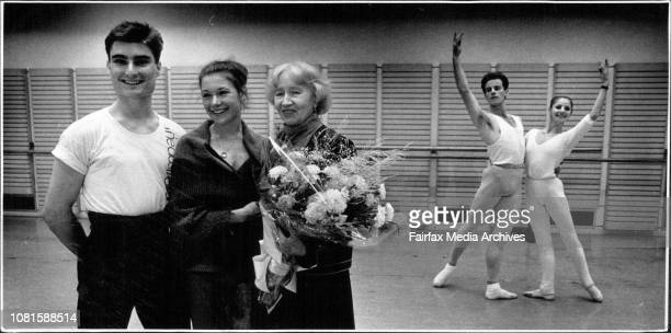 Madame Ulanova with Australian Ballet dancers David McAllister and Elizabeth TooheyBehind are Mark Pace and Anna de Cardi May 13 1988