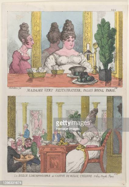 Madame Very Restauranteur Palais Royal Paris and La Belle Liminaudiere au Caffee De Mille Collone Palais Royale Paris 1814 Artist Thomas Rowlandson