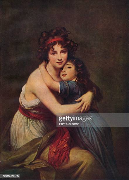 Madame Vigee Lebrun and her daughter, Jeanne Lucie Louise, 1789. Painting housed in the Louvre, Paris. From World-Famous Paintings edited by J. Greig...