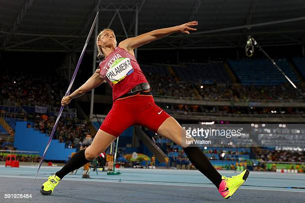 Madara Palameika of Latvia competes during the Women's Javelin Throw Final on Day 13 of the Rio 2016 Olympic Games at the Olympic Stadium on August...